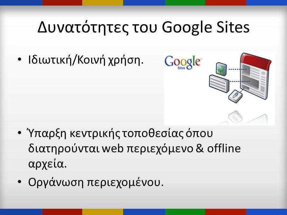 Δυνατότητες του Google Sites • Ιδιωτική/Κοινή χρήση.