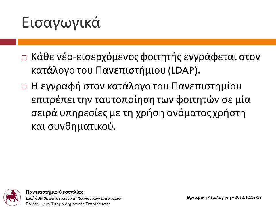 Πανεπιστήμιο Θεσσαλίας Σχολή Ανθρωπιστικών και Κοινωνικών Επιστημών Παιδαγωγικό Τμήμα Δημοτικής Εκπαίδευσης Εξωτερική Αξιολόγηση – 2012.12.16-18 Εισαγωγικά  Κάθε νέο - εισερχόμενος φοιτητής εγγράφεται στον κατάλογο του Πανεπιστήμιου (LDAP).
