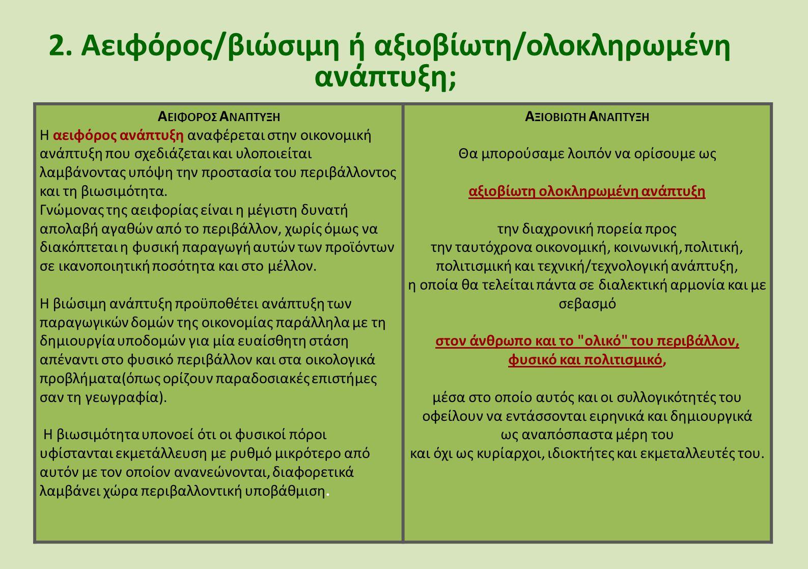 2. Αειφόρος/βιώσιμη ή αξιοβίωτη/ολοκληρωμένη ανάπτυξη; Α ΕΙΦΟΡΟΣ Α ΝΑΠΤΥΞΗ Η αειφόρος ανάπτυξη αναφέρεται στην οικονομική ανάπτυξη που σχεδιάζεται και