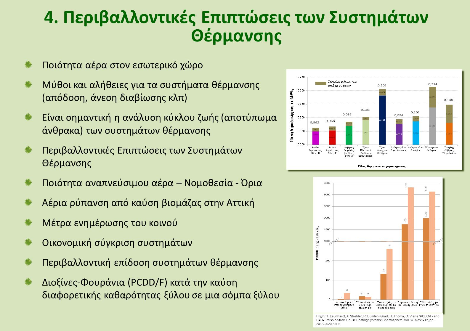 4. Περιβαλλοντικές Επιπτώσεις των Συστημάτων Θέρμανσης Ποιότητα αέρα στον εσωτερικό χώρο Μύθοι και αλήθειες για τα συστήματα θέρμανσης (απόδοση, άνεση