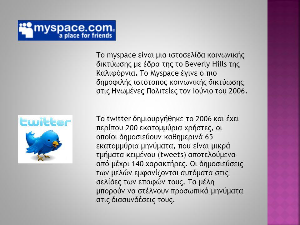 Το myspace είναι μια ιστοσελίδα κοινωνικής δικτύωσης με έδρα της το Beverly Hills της Καλιφόρνια. Το Myspace έγινε ο πιο δημοφιλής ιστότοπος κοινωνική