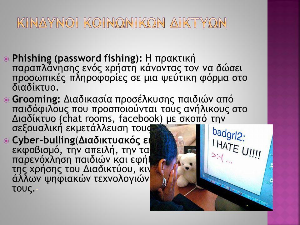 Phishing (password fishing): Η πρακτική παραπλάνησης ενός χρήστη κάνοντας τον να δώσει προσωπικές πληροφορίες σε μια ψεύτικη φόρμα στο διαδίκτυο. 