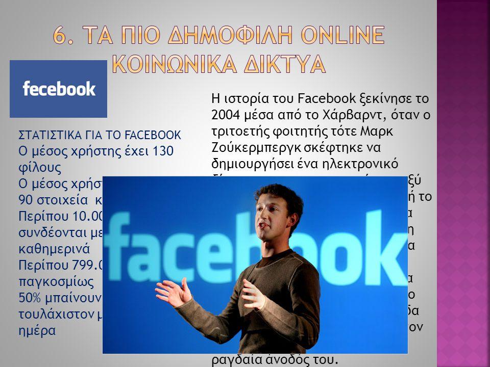 Η ιστορία του Facebook ξεκίνησε το 2004 μέσα από το Χάρβαρντ, όταν ο τριτοετής φοιτητής τότε Μαρκ Ζούκερμπεργκ σκέφτηκε να δημιουργήσει ένα ηλεκτρονικ