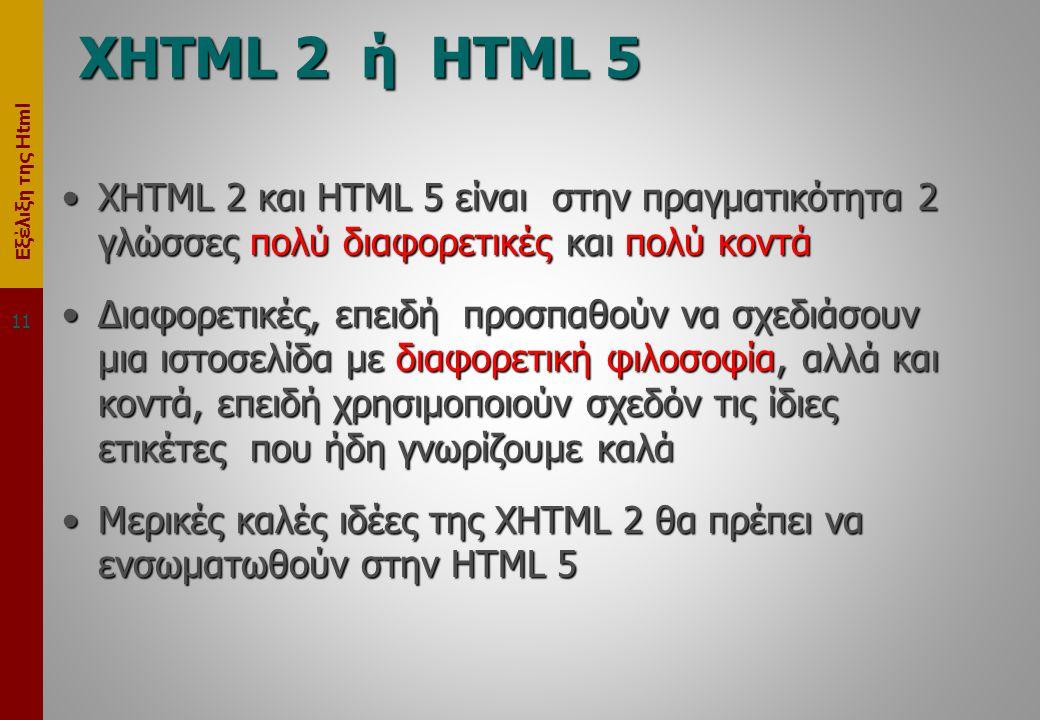 Εξέλιξη της Html XHTML 2 ή HTML 5 •XHTML 2 και HTML 5 είναι στην πραγματικότητα 2 γλώσσες πολύ διαφορετικές και πολύ κοντά •Διαφορετικές, επειδή προσπαθούν να σχεδιάσουν μια ιστοσελίδα με διαφορετική φιλοσοφία, αλλά και κοντά, επειδή χρησιμοποιούν σχεδόν τις ίδιες ετικέτες που ήδη γνωρίζουμε καλά •Μερικές καλές ιδέες της XHTML 2 θα πρέπει να ενσωματωθούν στην HTML 5 11