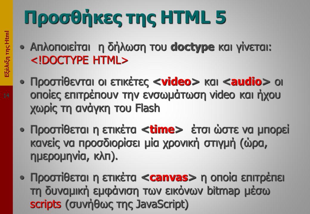 Εξέλιξη της Html Προσθήκες της HTML 5 •Απλοποιείται η δήλωση του doctype και γίνεται: •Απλοποιείται η δήλωση του doctype και γίνεται: •Προστίθενται οι ετικέτες και οι οποίες επιτρέπουν την ενσωμάτωση video και ήχου χωρίς τη ανάγκη του Flash •Προστίθεται η ετικέτα έτσι ώστε να μπορεί κανείς να προσδιορίσει μία χρονική στιγμή (ώρα, ημερομηνία, κλπ).