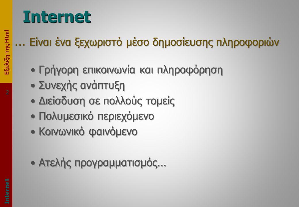 Εξέλιξη της Html 2 Internet Είναι ένα ξεχωριστό μέσο δημοσίευσης πληροφοριών...