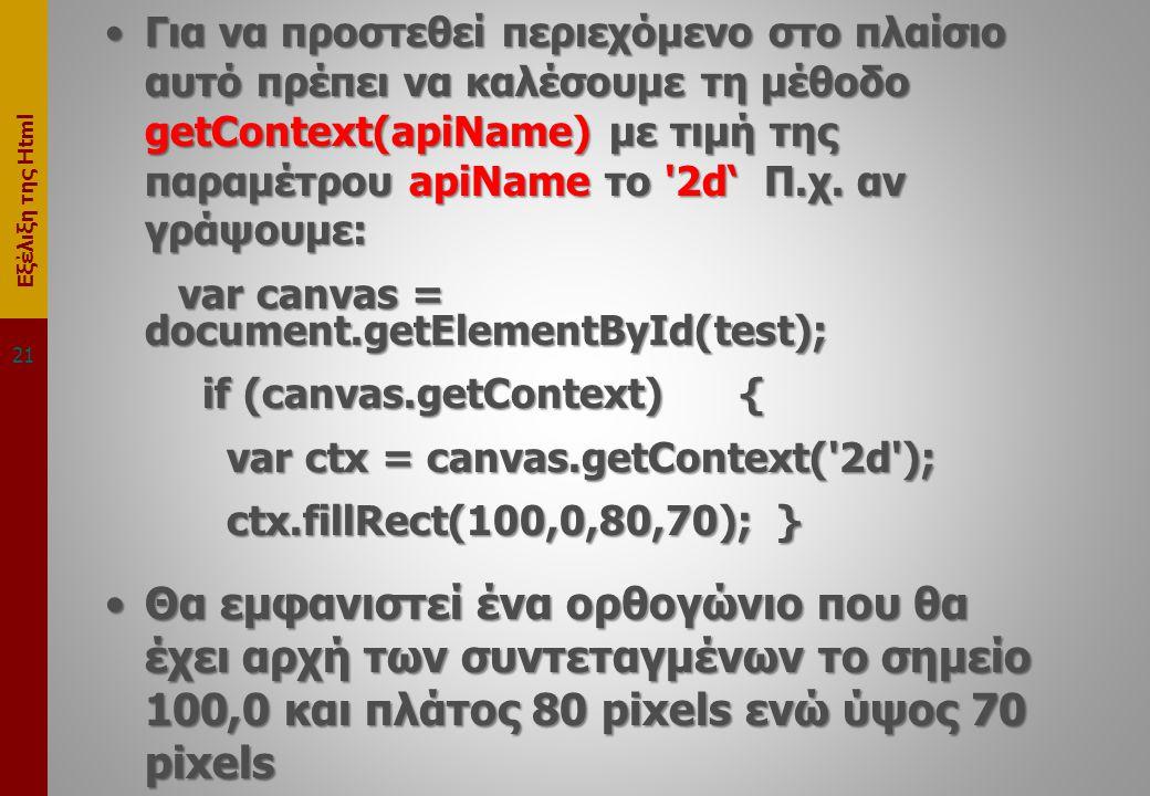 Εξέλιξη της Html •Για να προστεθεί περιεχόμενο στο πλαίσιο αυτό πρέπει να καλέσουμε τη μέθοδο getContext(apiName) με τιμή της παραμέτρου apiName το 2d' Π.χ.