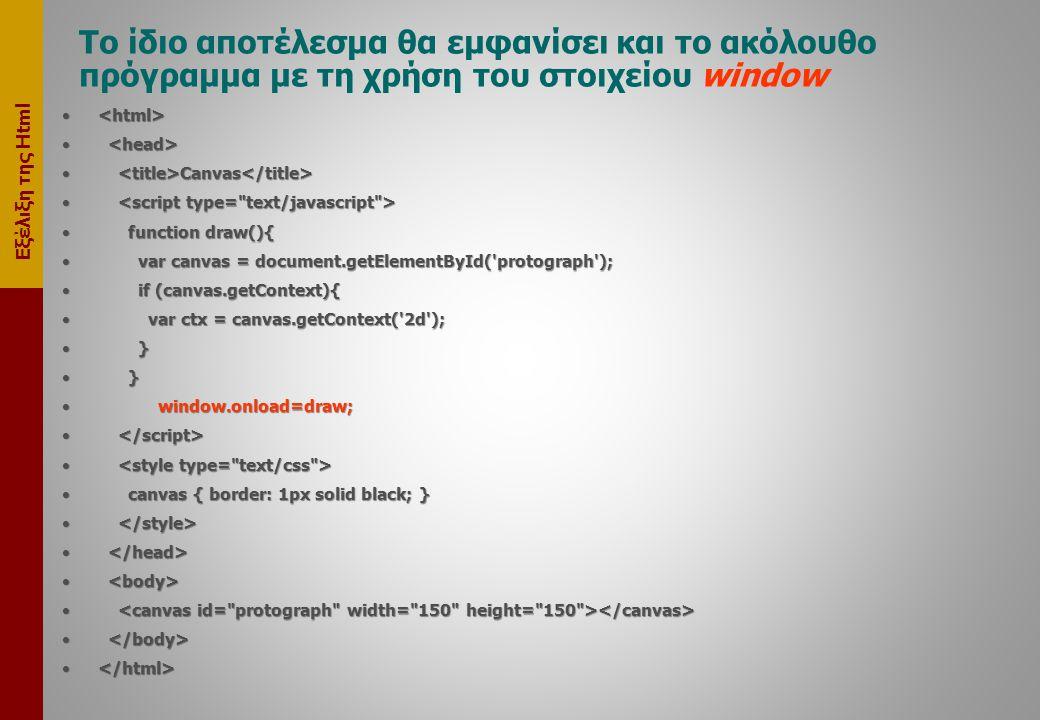 Το ίδιο αποτέλεσμα θα εμφανίσει και το ακόλουθο πρόγραμμα με τη χρήση του στοιχείου window • • • Canvas • Canvas • • • function draw(){ • var canvas = document.getElementById( protograph ); • if (canvas.getContext){ • var ctx = canvas.getContext( 2d ); • } •window.onload=draw; • • • canvas { border: 1px solid black; } • •