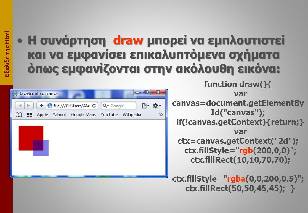Εξέλιξη της Html •Η συνάρτηση draw μπορεί να εμπλουτιστεί και να εμφανίσει επικαλυπτόμενα σχήματα όπως εμφανίζονται στην ακόλουθη εικόνα: function draw(){ var canvas=document.getElementBy Id( canvas ); if(!canvas.getContext){return;} var ctx=canvas.getContext( 2d ); ctx.fillStyle= rgb(200,0,0) ; ctx.fillRect(10,10,70,70); ctx.fillStyle= rgba(0,0,200,0.5) ; ctx.fillRect(50,50,45,45); }