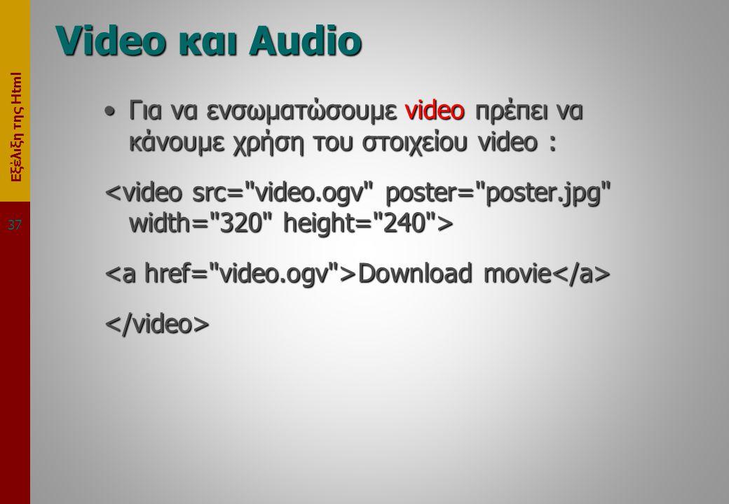 Εξέλιξη της Html Video και Audio •Για να ενσωματώσουμε video πρέπει να κάνουμε χρήση του στοιχείου video : Download movie Download movie </video> 37