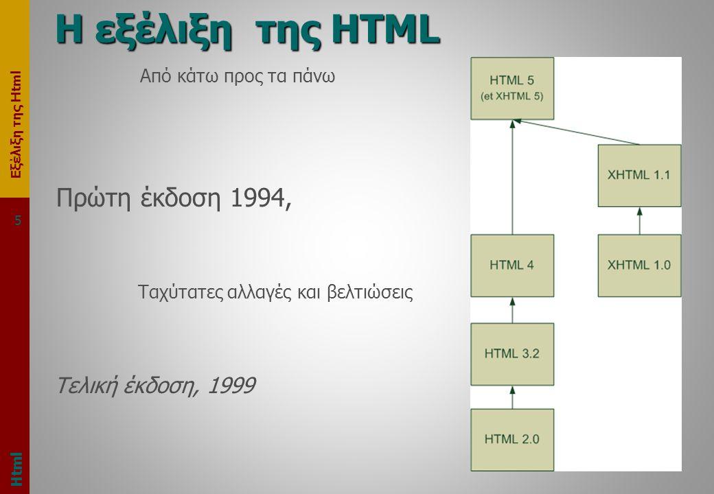 Εξέλιξη της Html 5 Η εξέλιξη της HTML Html Από κάτω προς τα πάνω Πρώτη έκδοση 1994, Ταχύτατες αλλαγές και βελτιώσεις Τελική έκδοση, 1999