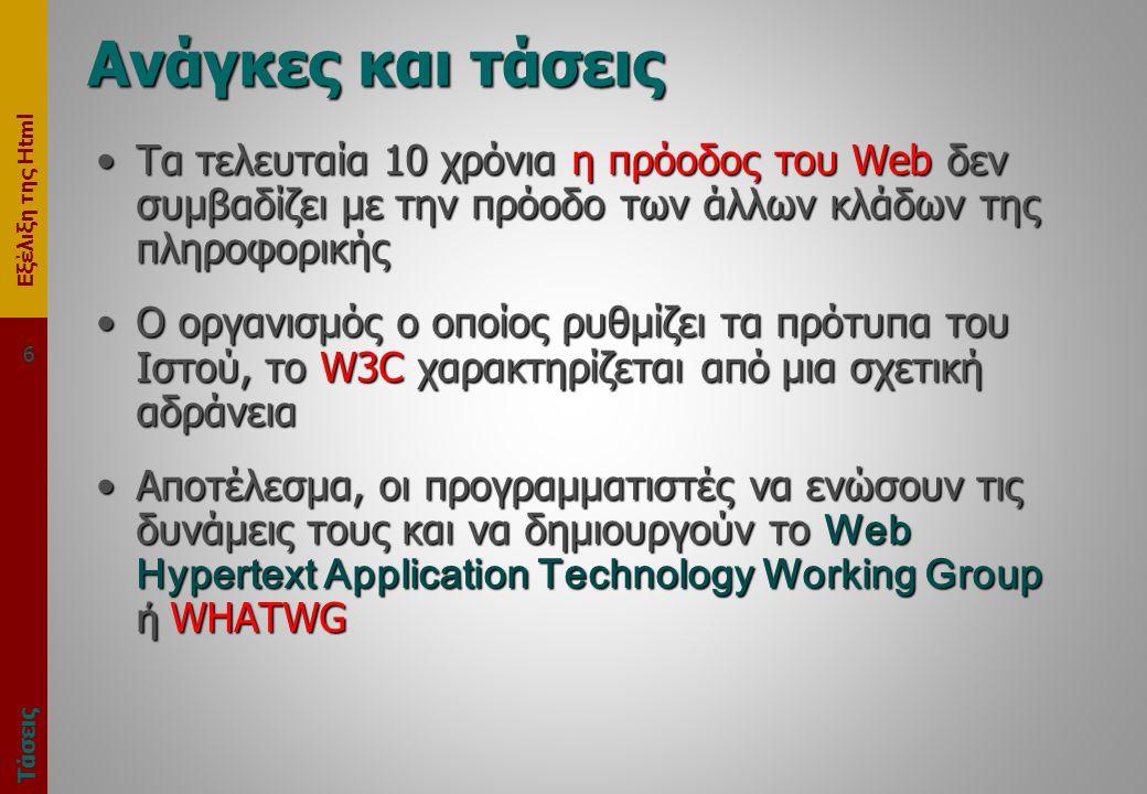 Εξέλιξη της Html 6 Ανάγκες και τάσεις Τάσεις •Τα τελευταία 10 χρόνια η πρόοδος του Web δεν συμβαδίζει με την πρόοδο των άλλων κλάδων της πληροφορικής •Ο οργανισμός ο οποίος ρυθμίζει τα πρότυπα του Ιστού, το W3C χαρακτηρίζεται από μια σχετική αδράνεια •Αποτέλεσμα, οι προγραμματιστές να ενώσουν τις δυνάμεις τους και να δημιουργούν το Web Hypertext Application Technology Working Group ή WHATWG