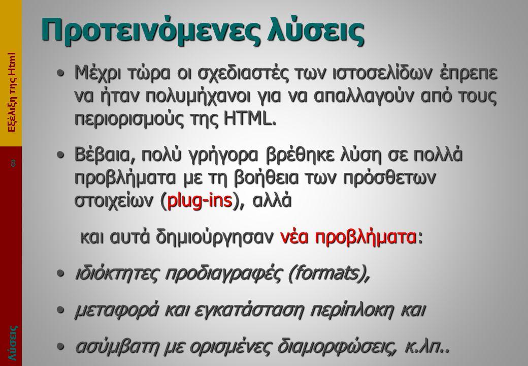 Εξέλιξη της Html Προτεινόμενες λύσεις •Μέχρι τώρα οι σχεδιαστές των ιστοσελίδων έπρεπε να ήταν πολυμήχανοι για να απαλλαγούν από τους περιορισμούς της HTML.