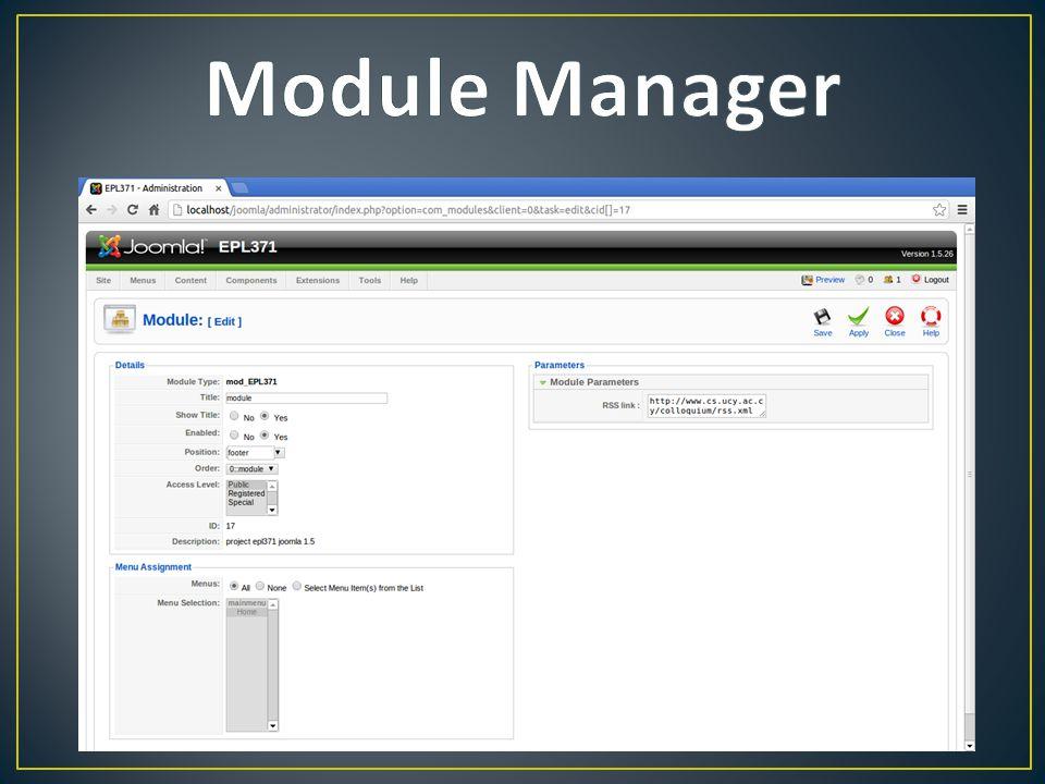 • Αρχείο λειτουργίας • Default • Δύο βασικά css αρχεία • Navigation Menu • More(mouseover) • Δύο βασικές λειτουργίες(κλάσεις) • Parser • Search
