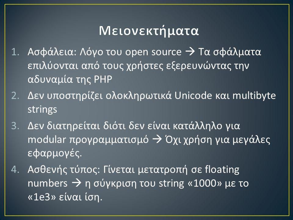 1.Ασφάλεια: Λόγο του open source  Τα σφάλματα επιλύονται από τους χρήστες εξερευνώντας την αδυναμία της PHP 2.Δεν υποστηρίζει ολοκληρωτικά Unicode και multibyte strings 3.Δεν διατηρείται διότι δεν είναι κατάλληλο για modular προγραμματισμό  Όχι χρήση για μεγάλες εφαρμογές.