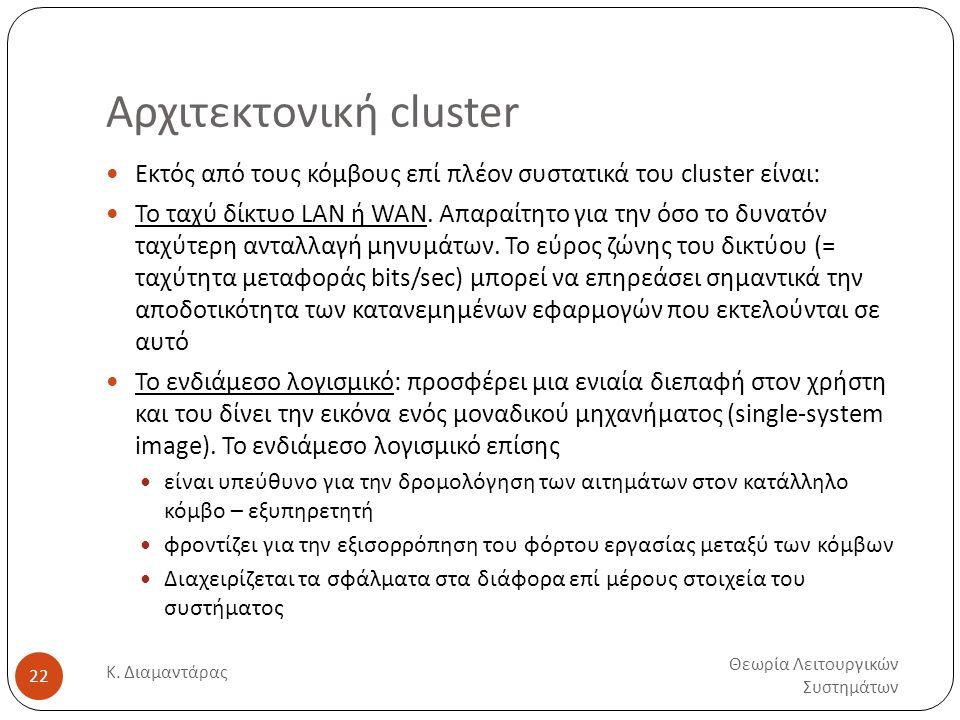 Αρχιτεκτονική cluster Θεωρία Λειτουργικών Συστημάτων Κ. Διαμαντάρας 22  Εκτός από τους κόμβους επί πλέον συστατικά του cluster είναι:  Το ταχύ δίκτυ