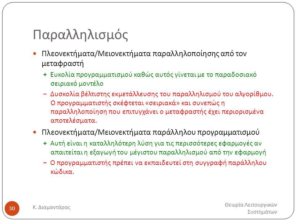 Παραλληλισμός Θεωρία Λειτουργικών Συστημάτων Κ. Διαμαντάρας 30  Πλεονεκτήματα/Μειονεκτήματα παραλληλοποίησης από τον μεταφραστή + Ευκολία προγραμματι