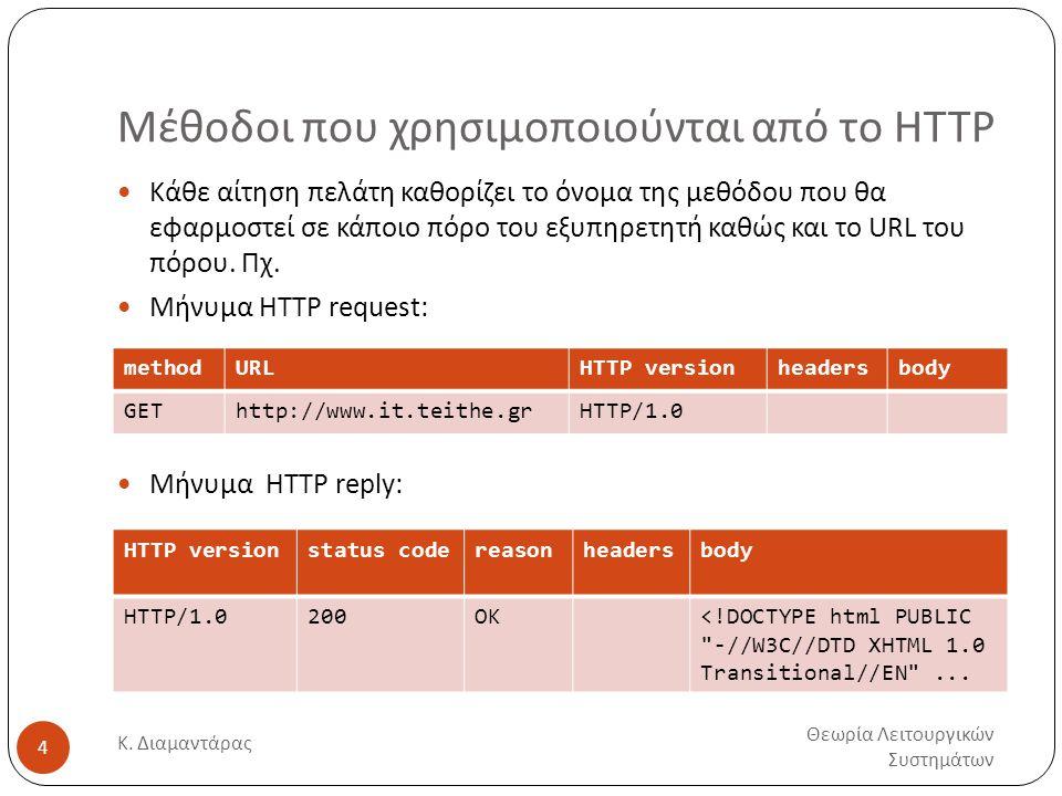 Μέθοδοι που χρησιμοποιούνται από το HTTP Θεωρία Λειτουργικών Συστημάτων Κ. Διαμαντάρας 4  Κάθε αίτηση πελάτη καθορίζει το όνομα της μεθόδου που θα εφ
