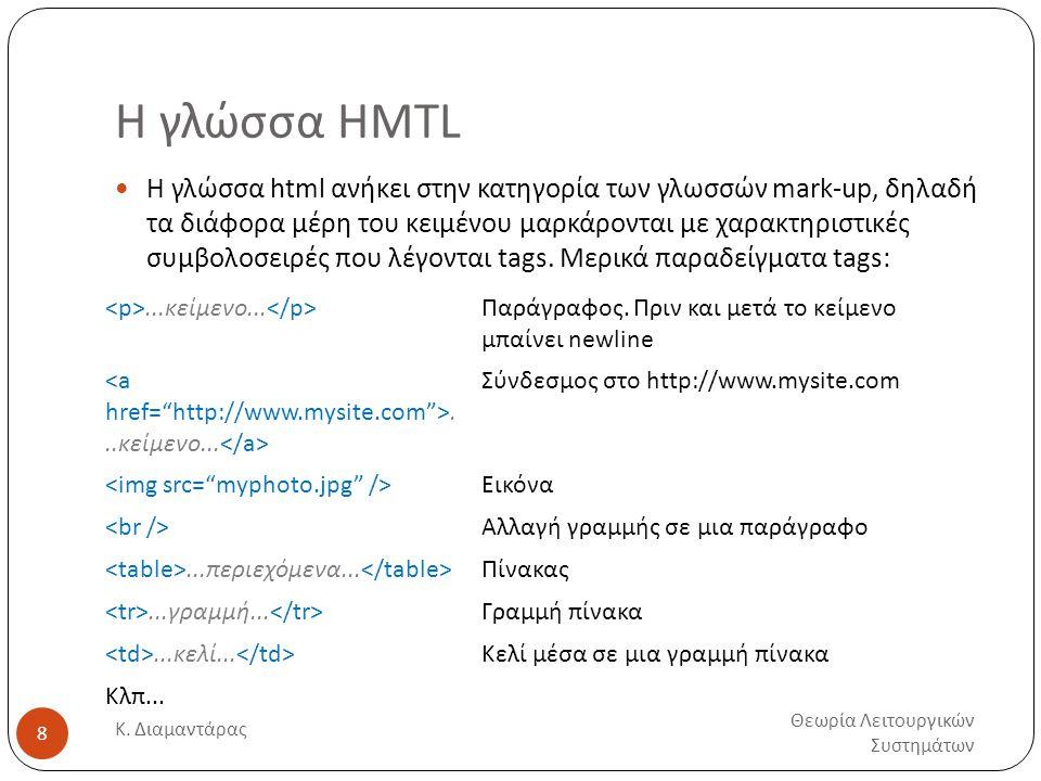 Η γλώσσα HMTL Θεωρία Λειτουργικών Συστημάτων Κ. Διαμαντάρας 8  Η γλώσσα html ανήκει στην κατηγορία των γλωσσών mark-up, δηλαδή τα διάφορα μέρη του κε