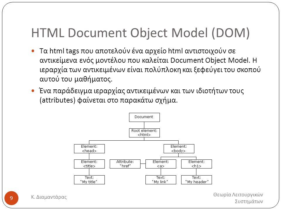 HTML Document Object Model (DOM) Θεωρία Λειτουργικών Συστημάτων Κ. Διαμαντάρας 9  Τα html tags που αποτελούν ένα αρχείο html αντιστοιχούν σε αντικείμ