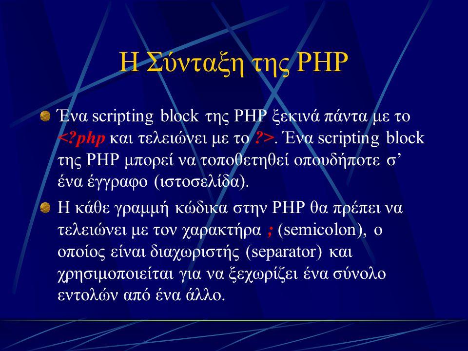 Η Σύνταξη της PHP Ένα scripting block της PHP ξεκινά πάντα με το. Ένα scripting block της PHP μπορεί να τοποθετηθεί οπουδήποτε σ' ένα έγγραφο (ιστοσελ