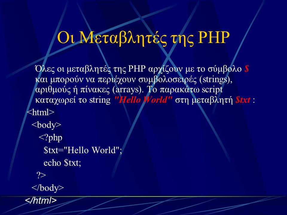 Οι Μεταβλητές της PHP Όλες οι μεταβλητές της PHP αρχίζουν με το σύμβολο $ και μπορούν να περιέχουν συμβολοσειρές (strings), αριθμούς ή πίνακες (arrays