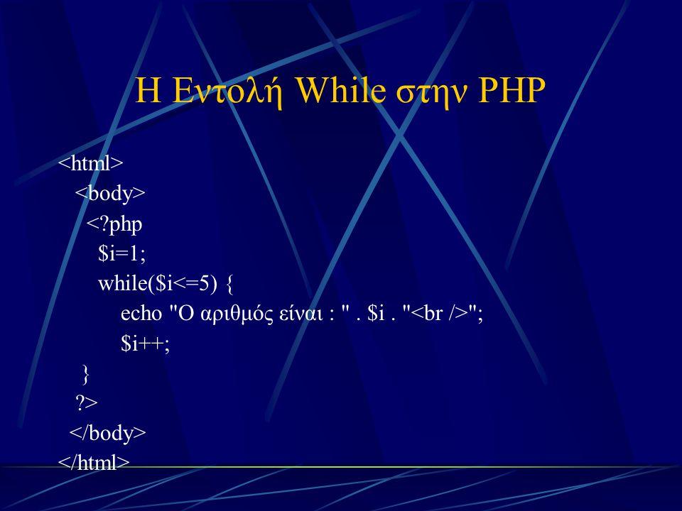 Η Εντολή While στην PHP <?php $i=1; while($i<=5) { echo