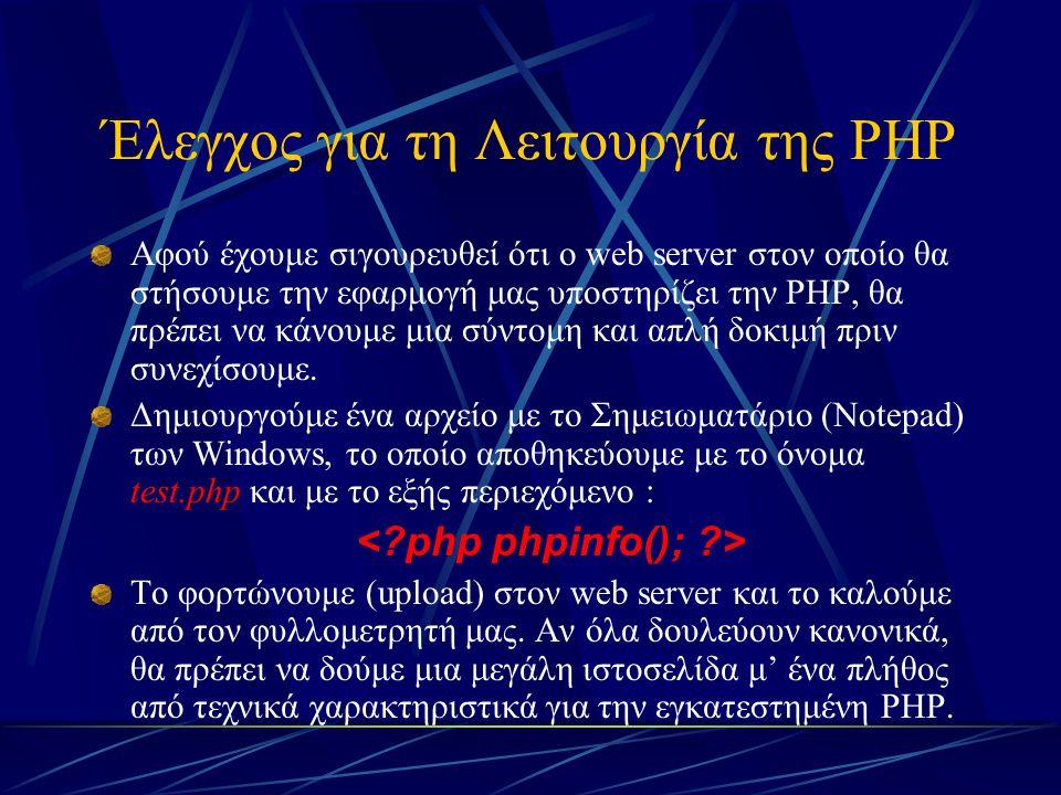 Έλεγχος για τη Λειτουργία της PHP Αφού έχουμε σιγουρευθεί ότι ο web server στον οποίο θα στήσουμε την εφαρμογή μας υποστηρίζει την PHP, θα πρέπει να κ