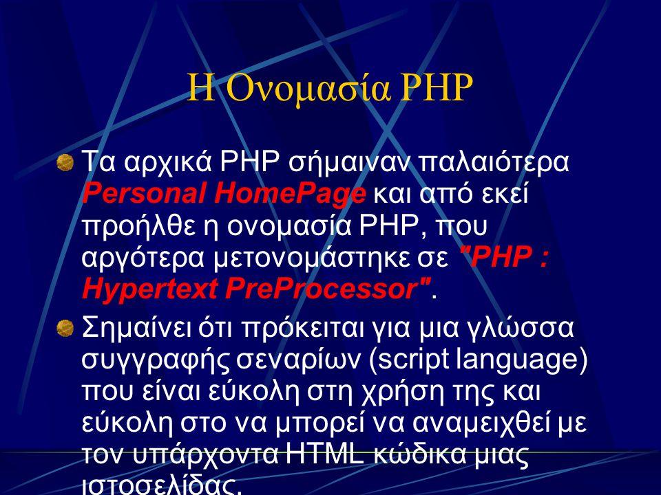 Η Ονομασία PHP Τα αρχικά PHP σήμαιναν παλαιότερα Personal HomePage και από εκεί προήλθε η ονομασία PHP, που αργότερα μετονομάστηκε σε