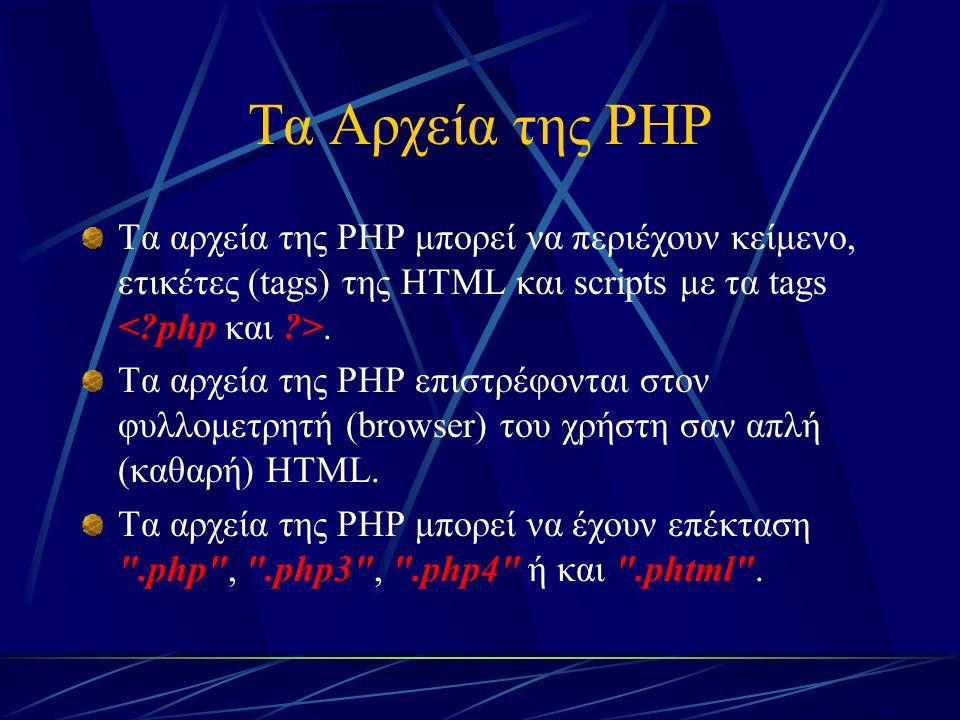 Τα Αρχεία της PHP Τα αρχεία της PHP μπορεί να περιέχουν κείμενο, ετικέτες (tags) της HTML και scripts με τα tags. Τα αρχεία της PHP επιστρέφονται στον