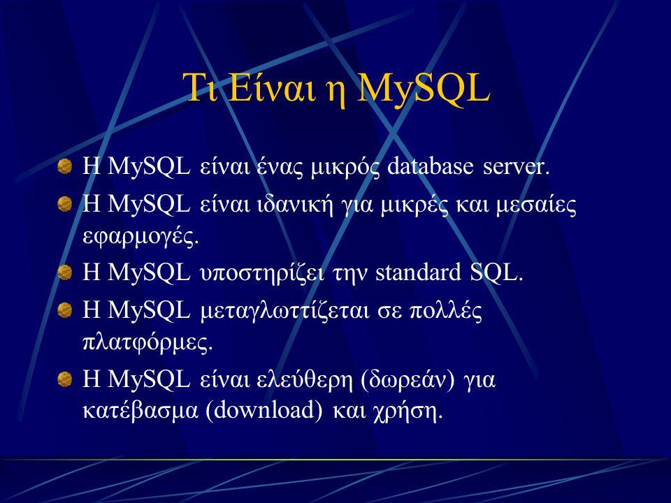 Η MySQL στο EDUnet Κάθε σχολική μονάδα ή και κάθε εκπαιδευτικός που διαθέτει λογαριασμό στο Πανελλήνιο Σχολικό Δίκτυο (EDUnet), έχει τη δυνατότητα να αποκτήσει και ειδικούς κωδικούς για τη διαχείριση μιας βάσης δεδομένων με την MySQL και την PHP.