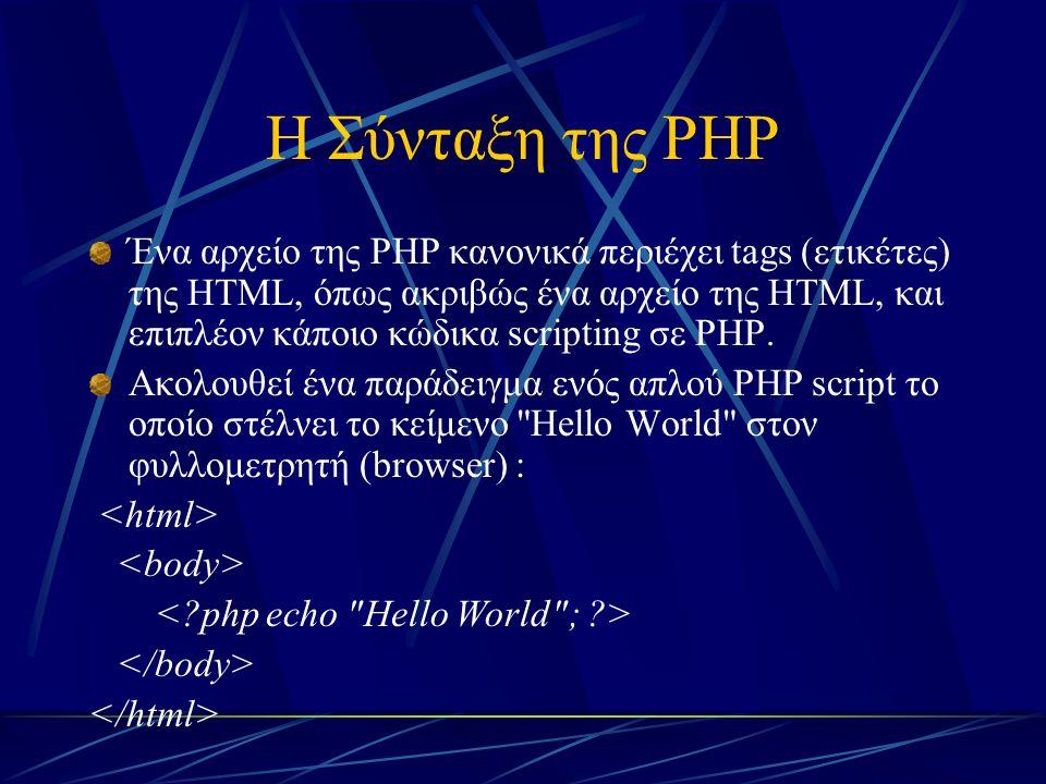 Η Σύνταξη της PHP Ένα αρχείο της PHP κανονικά περιέχει tags (ετικέτες) της HTML, όπως ακριβώς ένα αρχείο της HTML, και επιπλέον κάποιο κώδικα scriptin