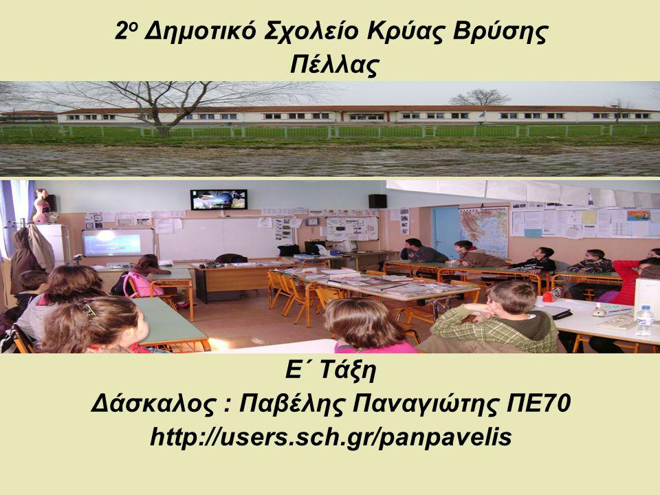2 ο Δημοτικό Σχολείο Κρύας Βρύσης Πέλλας Ε΄ Τάξη Δάσκαλος : Παβέλης Παναγιώτης ΠΕ70 http://users.sch.gr/panpavelis