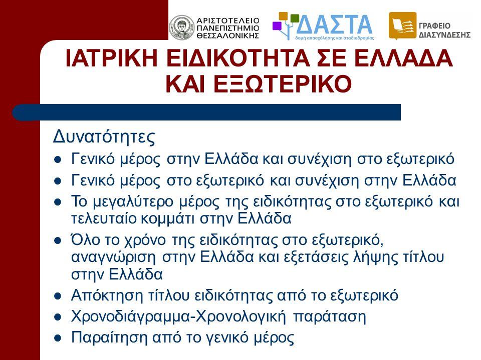 ΙΑΤΡΙΚΗ ΕΙΔΙΚΟΤΗΤΑ ΣΕ ΕΛΛΑΔΑ ΚΑΙ ΕΞΩΤΕΡΙΚΟ Δυνατότητες  Γενικό μέρος στην Ελλάδα και συνέχιση στο εξωτερικό  Γενικό μέρος στο εξωτερικό και συνέχιση στην Ελλάδα  Το μεγαλύτερο μέρος της ειδικότητας στο εξωτερικό και τελευταίο κομμάτι στην Ελλάδα  Όλο το χρόνο της ειδικότητας στο εξωτερικό, αναγνώριση στην Ελλάδα και εξετάσεις λήψης τίτλου στην Ελλάδα  Απόκτηση τίτλου ειδικότητας από το εξωτερικό  Χρονοδιάγραμμα-Χρονολογική παράταση  Παραίτηση από το γενικό μέρος