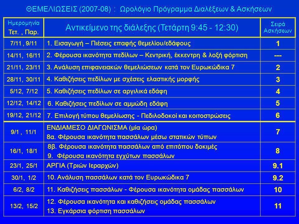 ΘΕΜΕΛΙΩΣΕΙΣ (2007-08) : Ωρολόγιο Πρόγραμμα Διαλέξεων & Ασκήσεων Ημερομηνία Τετ., Παρ. Αντικείμενο της διάλεξης (Τετάρτη 9:45 - 12:30) Σειρά Ασκήσεων 7