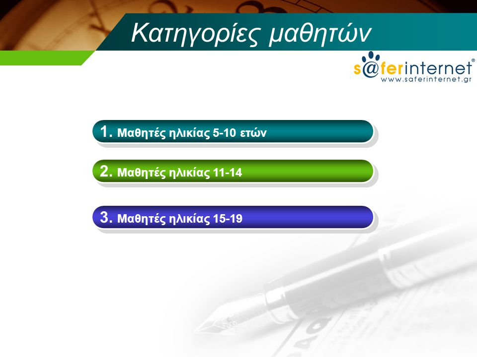 Κατηγορίες μαθητών 1. Μαθητές ηλικίας 5-10 ετών 2. Μαθητές ηλικίας 11-14 3. Μαθητές ηλικίας 15-19