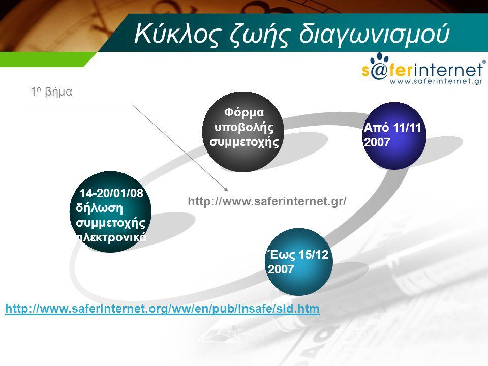 Κύκλος ζωής διαγωνισμού 14-20/01/08 δήλωση συμμετοχής ηλεκτρονικά Φόρμα υποβολής συμμετοχής Από 11/11 2007 Έως 15/12 2007 http://www.saferinternet.org/ww/en/pub/insafe/sid.htm 1 ο βήμα http://www.saferinternet.gr/
