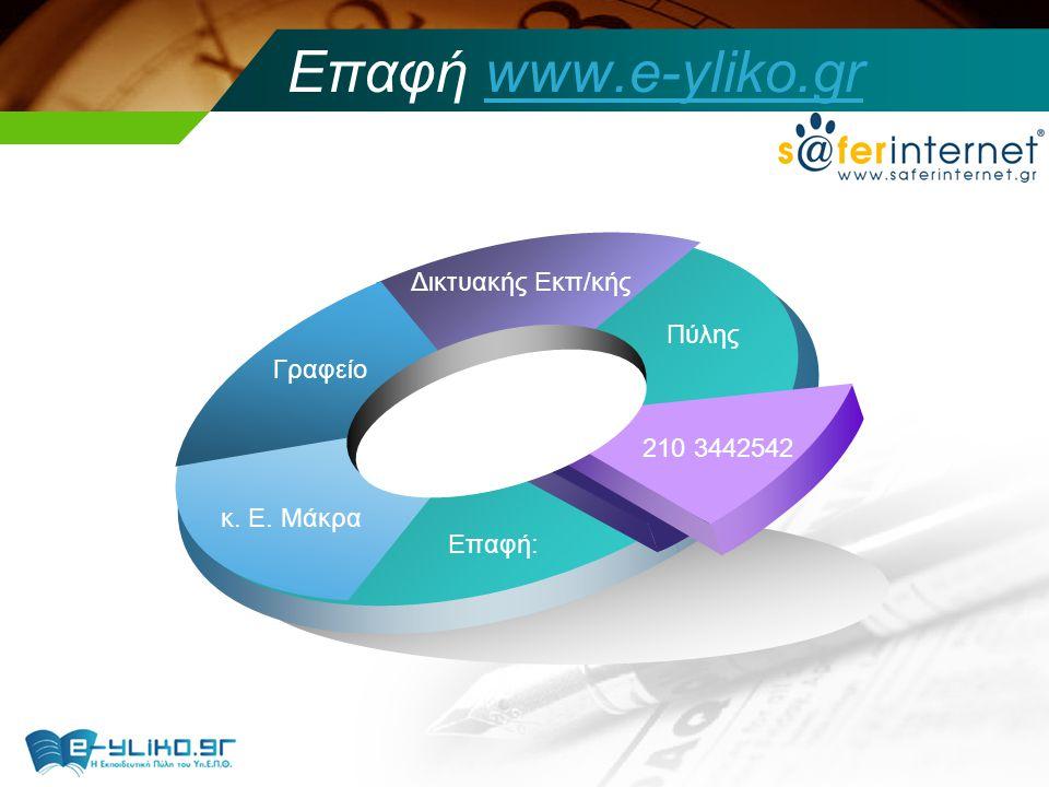 Επαφή www.e-yliko.grwww.e-yliko.gr Πύλης Δικτυακής Εκπ/κής Γραφείο κ. Ε. Μάκρα Επαφή: 210 3442542