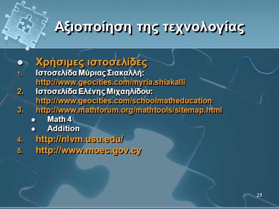 25 Αξιοποίηση της τεχνολογίας  Χρήσιμες ιστοσελίδες 1. Ιστοσελίδα Μύριας Σιακαλλή: http://www.geocities.com/myria.shiakalli 2. Ιστοσελίδα Ελένης Μιχα