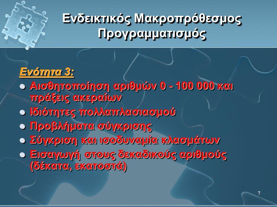 8 Ενδεικτικός Μακροπρόθεσμος Προγραμματισμός Ενότητα 4:  Λύση προβλημάτων με δύο πράξεις (ομαδοποίηση- αλλαγή, ομαδοποίηση-ομαδοποίηση, ομαδοποίηση- αναλογία, ομαδοποίηση-σύγκριση)  Κατανόηση μεικτών αριθμών  Γραφή κλασματικών και δεκαδικών αριθμών με μορφή μεικτών αριθμών και αντίστροφα  Μέτρηση μάζας  Μέτρηση χρόνου  Λύση προβλημάτων που σχετίζονται με καταστάσεις από την καθημερινή ζωή Ενότητα 4:  Λύση προβλημάτων με δύο πράξεις (ομαδοποίηση- αλλαγή, ομαδοποίηση-ομαδοποίηση, ομαδοποίηση- αναλογία, ομαδοποίηση-σύγκριση)  Κατανόηση μεικτών αριθμών  Γραφή κλασματικών και δεκαδικών αριθμών με μορφή μεικτών αριθμών και αντίστροφα  Μέτρηση μάζας  Μέτρηση χρόνου  Λύση προβλημάτων που σχετίζονται με καταστάσεις από την καθημερινή ζωή