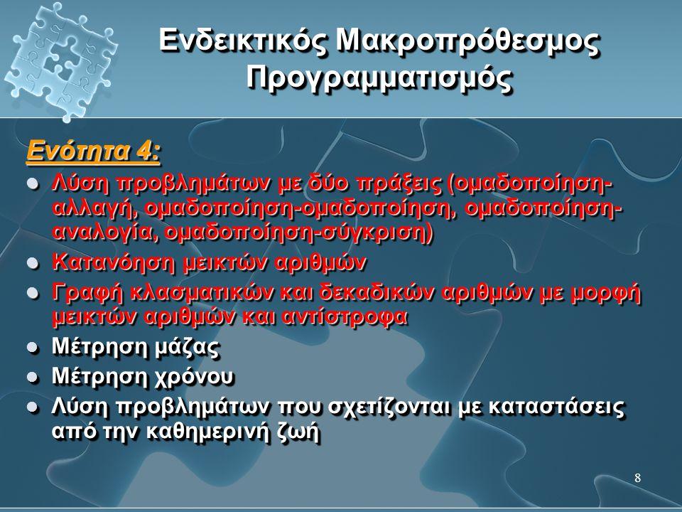 9 Ενδεικτικός Μακροπρόθεσμος Προγραμματισμός Ενότητα 5:  Αριθμοί 0 – 1 000 000  Πράξεις ακεραίων  Τριψήφιος πολλαπλασιασμός  Προβλήματα δύο πράξεων (αλλαγή-αλλαγή, αλλαγή-ομαδοποίηση, αλλαγή-αναλογία, αλλαγή-σύγκριση), (αναλογία-αλλαγή, αναλογία-ομαδοποίηση, αναλογία-αναλογία, αναλογία-σύγκριση)  Ταξινόμηση, διάκριση και κατασκευή τρισδιάστατων σχημάτων και πολυγώνων Ενότητα 5:  Αριθμοί 0 – 1 000 000  Πράξεις ακεραίων  Τριψήφιος πολλαπλασιασμός  Προβλήματα δύο πράξεων (αλλαγή-αλλαγή, αλλαγή-ομαδοποίηση, αλλαγή-αναλογία, αλλαγή-σύγκριση), (αναλογία-αλλαγή, αναλογία-ομαδοποίηση, αναλογία-αναλογία, αναλογία-σύγκριση)  Ταξινόμηση, διάκριση και κατασκευή τρισδιάστατων σχημάτων και πολυγώνων