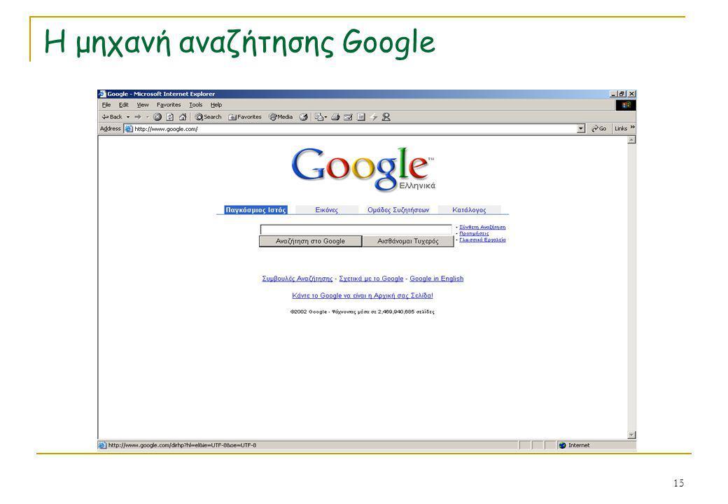 15 Η μηχανή αναζήτησης Google