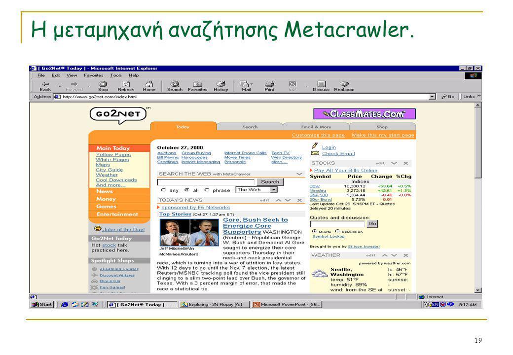 19 Η μεταμηχανή αναζήτησης Metacrawler.