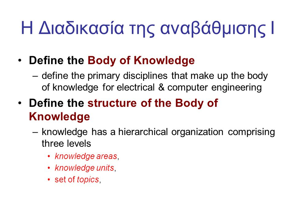 H Διαδικασία της αναβάθμισης I •Define the Body of Knowledge –define the primary disciplines that make up the body of knowledge for electrical & computer engineering •Define the structure of the Body of Knowledge –knowledge has a hierarchical organization comprising three levels •knowledge areas, •knowledge units, •set of topics,