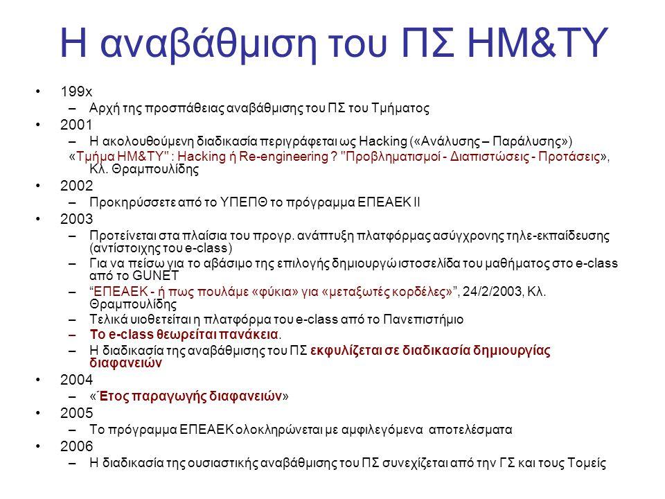 Η αναβάθμιση του ΠΣ HM&TY •199x –Αρχή της προσπάθειας αναβάθμισης του ΠΣ του Τμήματος •2001 –Η ακολουθούμενη διαδικασία περιγράφεται ως Hacking («Ανάλ