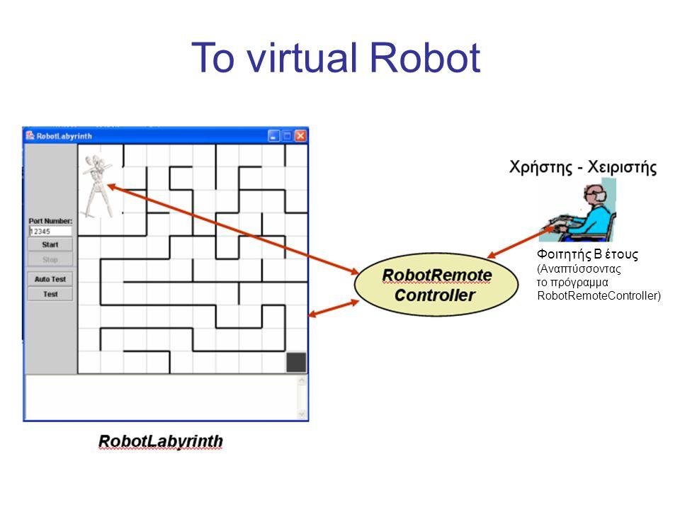 To virtual Robot Φοιτητής Β έτους (Αναπτύσσοντας το πρόγραμμα RobotRemoteController)