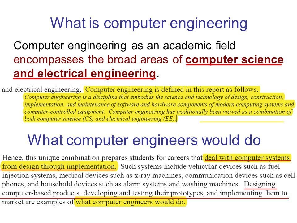 What is computer engineering Computer engineering as an academic field encompasses the broad areas of computer science and electrical engineering.