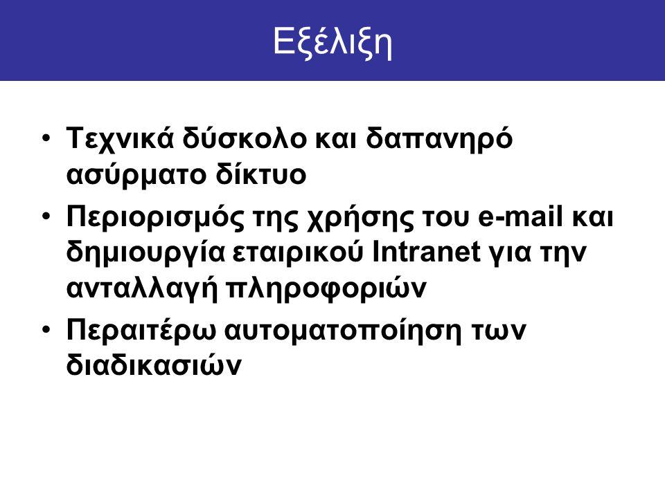 Εξέλιξη •Τεχνικά δύσκολο και δαπανηρό ασύρματο δίκτυο •Περιορισμός της χρήσης του e-mail και δημιουργία εταιρικού Intranet για την ανταλλαγή πληροφοριών •Περαιτέρω αυτοματοποίηση των διαδικασιών