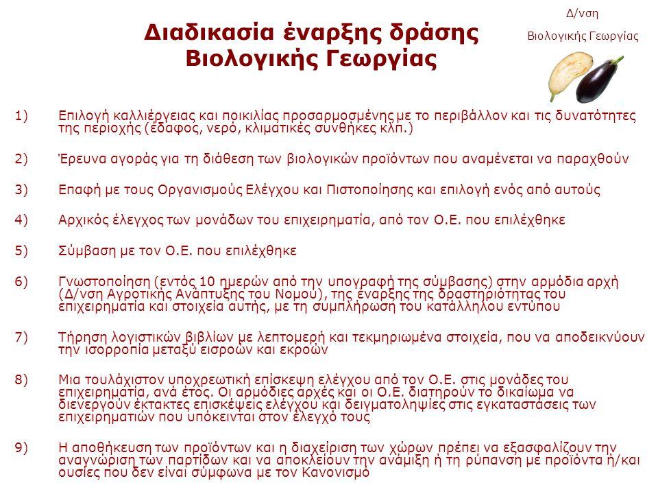 Διαδικασία έναρξης δράσης Βιολογικής Γεωργίας 1)Επιλογή καλλιέργειας και ποικιλίας προσαρμοσμένης με το περιβάλλον και τις δυνατότητες της περιοχής (έδαφος, νερό, κλιματικές συνθήκες κλπ.) 2)Έρευνα αγοράς για τη διάθεση των βιολογικών προϊόντων που αναμένεται να παραχθούν 3)Επαφή με τους Οργανισμούς Ελέγχου και Πιστοποίησης και επιλογή ενός από αυτούς 4)Αρχικός έλεγχος των μονάδων του επιχειρηματία, από τον Ο.Ε.