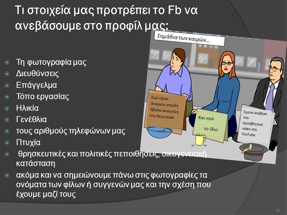 Τι στοιχεία μας προτρέπει το Fb να ανεβάσουμε στο προφίλ μας;  Τη φωτογραφία μας  Διευθύνσεις  Επάγγελμα  Τόπο εργασίας  Ηλικία  Γενέθλια  τους αριθμούς τηλεφώνων μας  Πτυχία  θρησκευτικές και πολιτικές πεποιθήσεις, οικογενειακή κατάσταση  ακόμα και να σημειώνουμε πάνω στις φωτογραφίες τα ονόματα των φίλων ή συγγενών μας και την σχέση που έχουμε μαζί τους 35